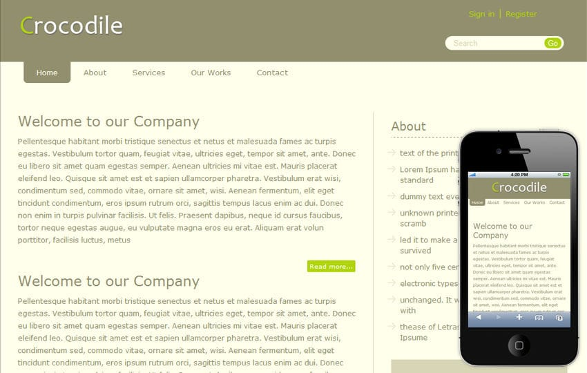 Crocodile Blog Mobile and web Free Template Mobile website template Free
