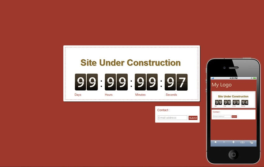 Mobile WebSite Under Construction Template Mobile website template Free