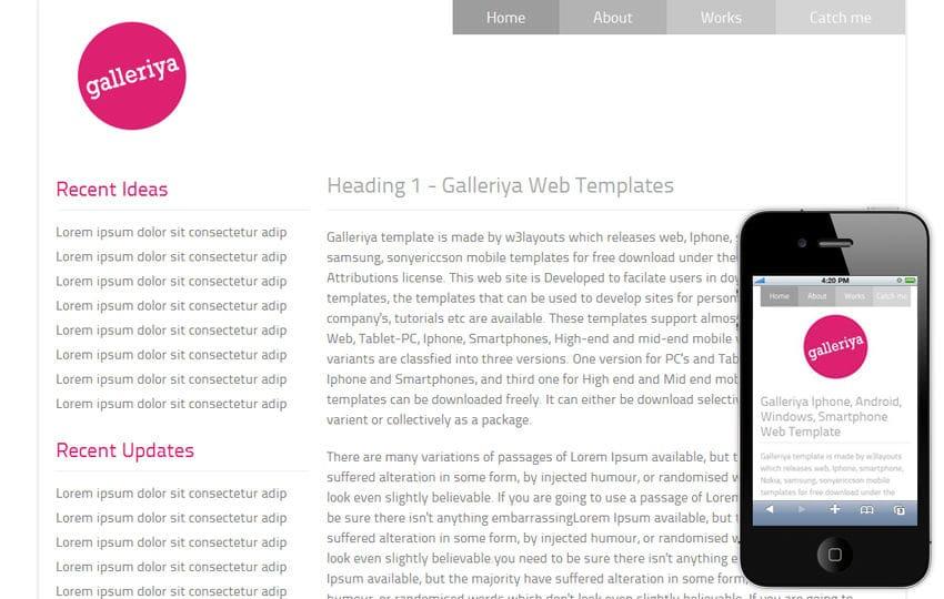 Galleriya – Free Protfolio Mobile Website Template Mobile website template Free