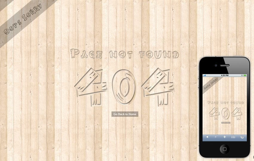 Woody 404 Page Not Found Mobile Website Template Mobile website template Free