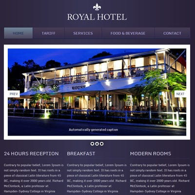 Hotel Royal Webtemplate And Mobile Webtemplate For Free By