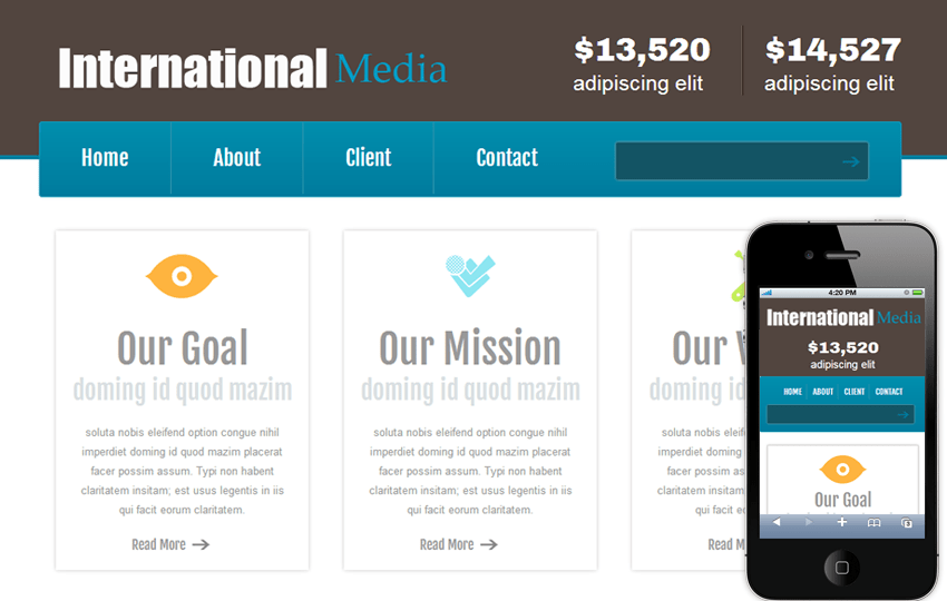 New International Media Web And Mobile Website Template For Free By - Web development company templates
