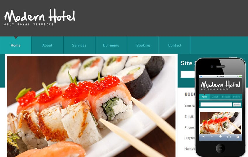 Free Modern Hotel Web template and mobile website template for hotels and restaurants Mobile website template Free