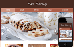 Food Fantasy web and mobile website template for free Mobile website template Free