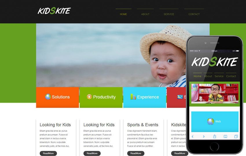 Kids Kite web and mobile template for free Mobile website template Free