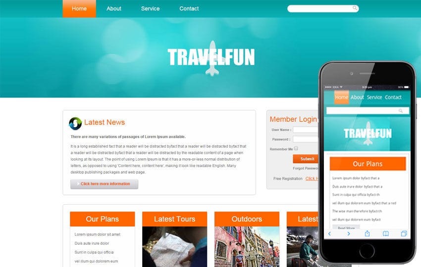 Travel Fun Web And Mobile Website Template By Wlayouts - Information website template