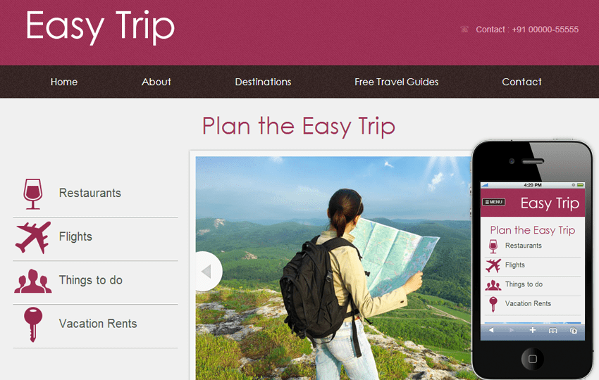 Easy Trip web and mobile website template for free by w3layouts