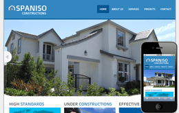 Spaniso Constructions web and mobile template for free Mobile website template Free