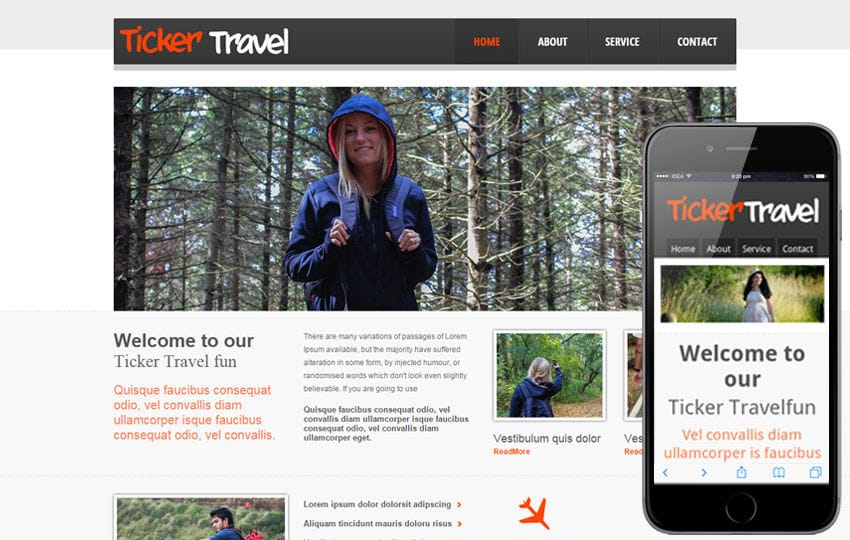 Ticker Travel web and mobile website template for free Mobile website template Free