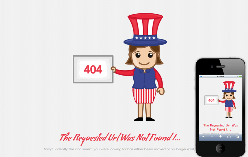 404 Event Page Not Found Mobile Web Template