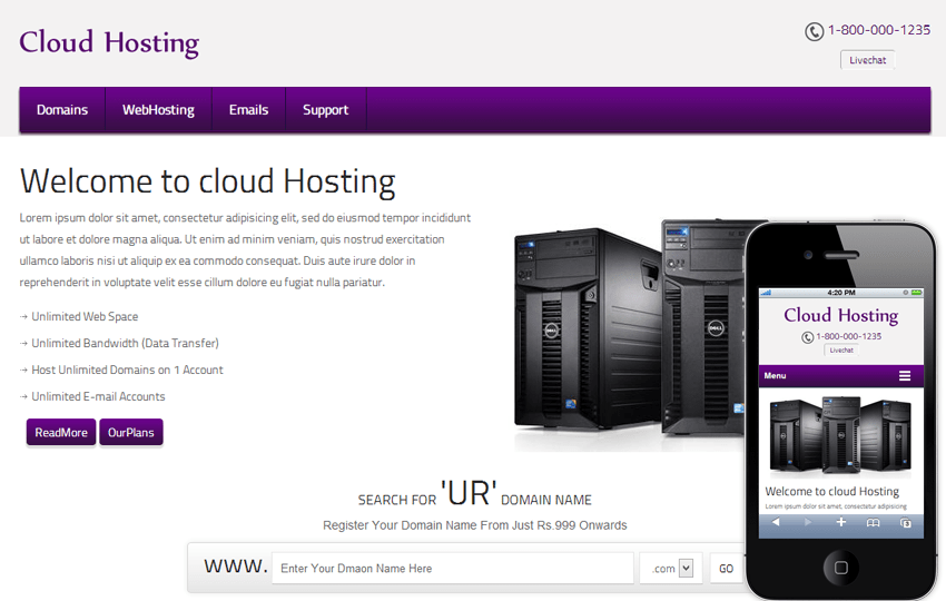 Cloud Hosting Domain Name Mobile Web Template Mobile website template Free