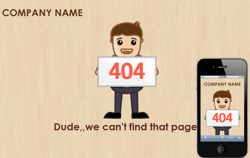 Poses 404 page not found mobile web template Mobile website template Free