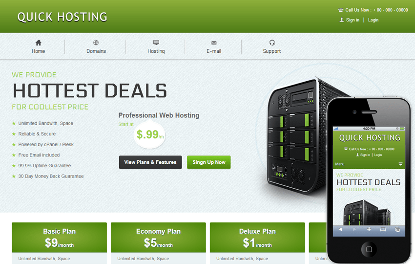 Quick Hosting Domain Sales Mobile web Template Mobile website template Free