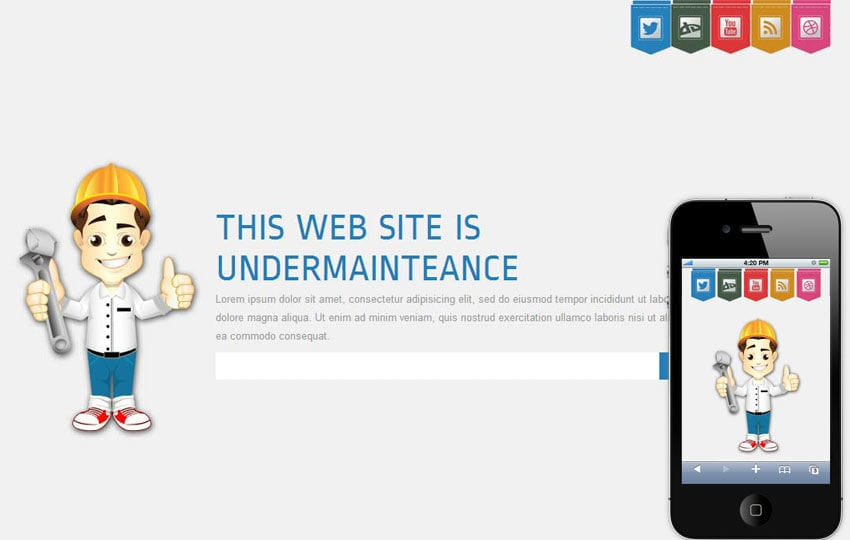 Launcher Under Construction Mobile Website Template By