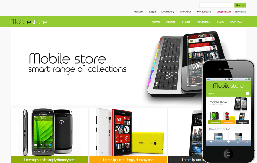 Mobile Store Ecommerce Shopping Cart Mobile Website Template By - Free ecommerce website templates shopping cart