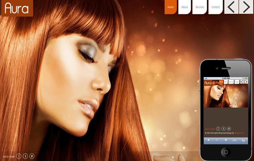 Aura Beauty Parlour Mobile Website Template Mobile website template Free