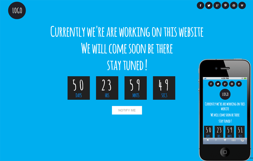 Blue Sky Under Construction Mobile Website Template Mobile website template Free