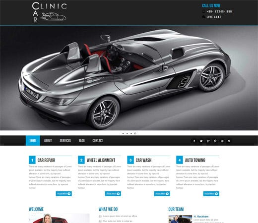 car clinic automobile mobile website template by w3layouts. Black Bedroom Furniture Sets. Home Design Ideas