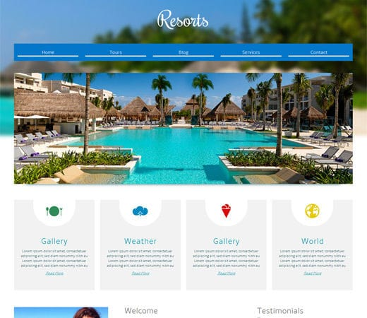 resorts a hotel mobile website template by w3layouts