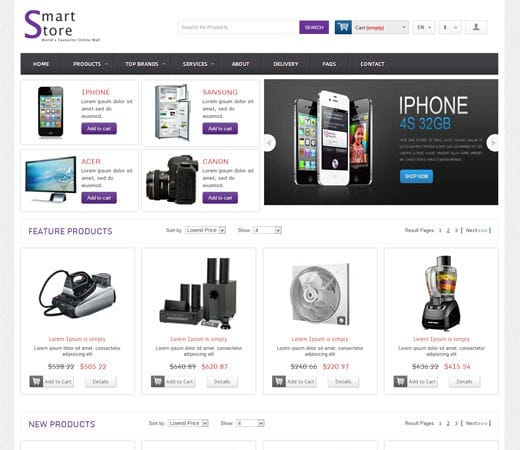 Smart store online shopping cart mobile website template for Online shopping websites list