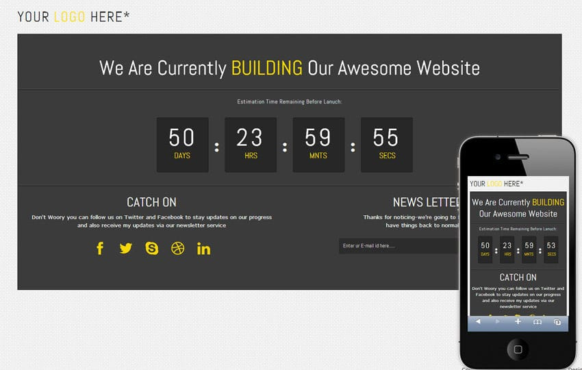 Dark Board Under Construction Mobile Website Template Mobile website template Free