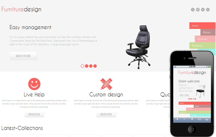 Furniture Design Mobile Website Template Mobile website template Free