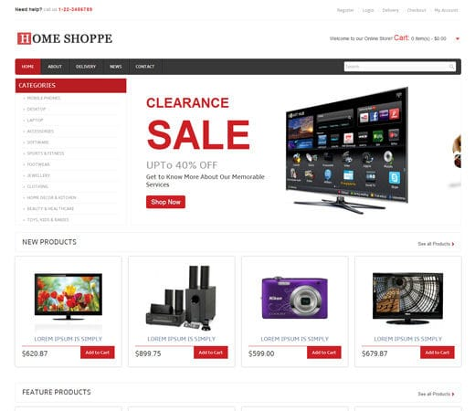 Home shoppe online shopping cart mobile website template for Home design website free