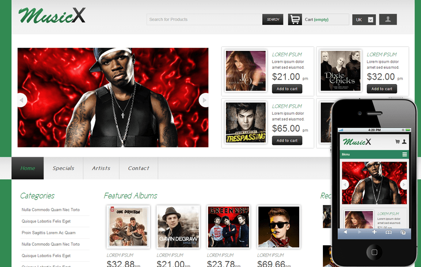 musicx online shopping music mobile website template by w3layouts
