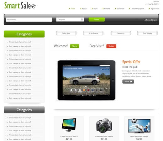 Smart sale online shopping cart mobile website template by for Online website for sale