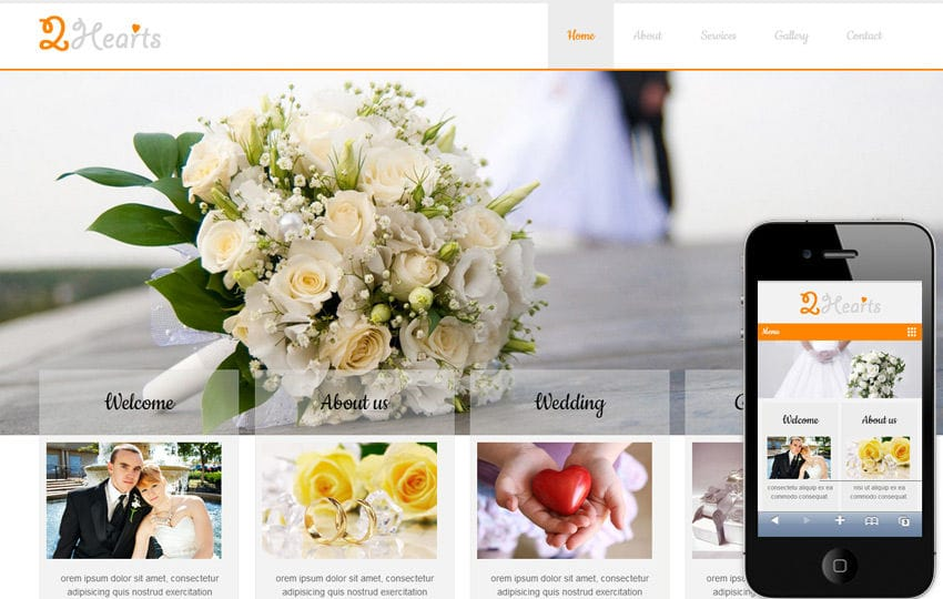 2Hearts a wedding planner Mobile Website Template Mobile website template Free