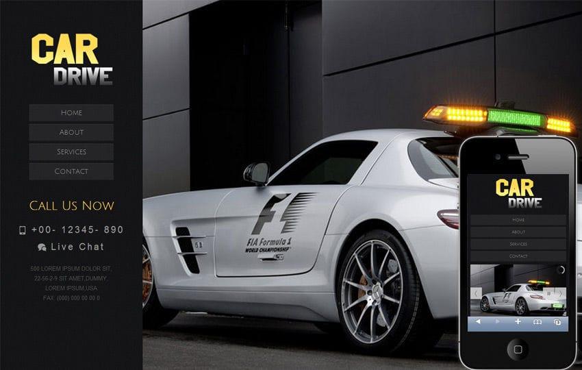 Car Drive automobile Mobile Website Template Mobile website template Free
