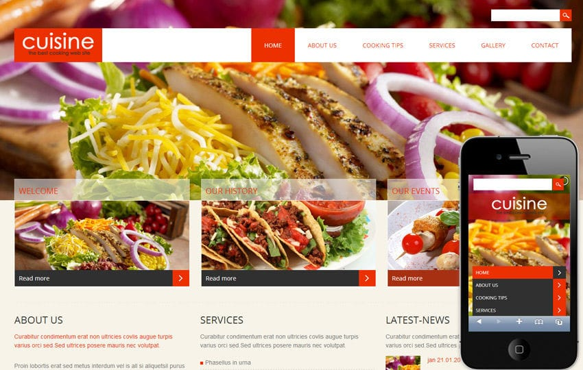 Cuisine a Hotel Mobile Website Template Mobile website template Free
