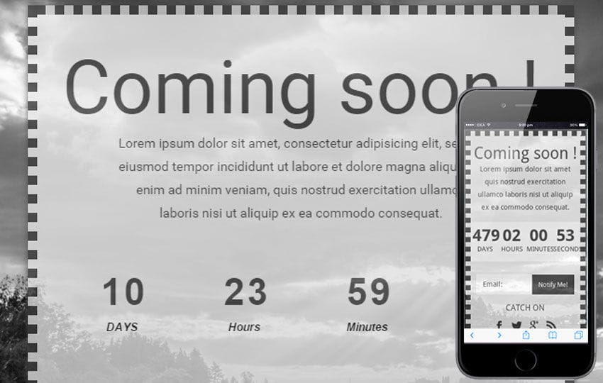 Dark Under Construction Mobile Website Template Mobile website template Free