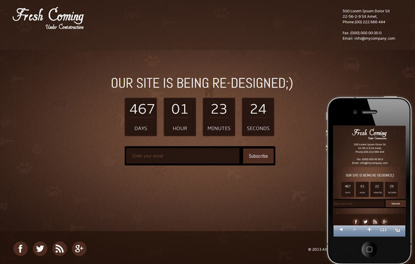Fresh Coming Under Construction Mobile Website Template Mobile website template Free