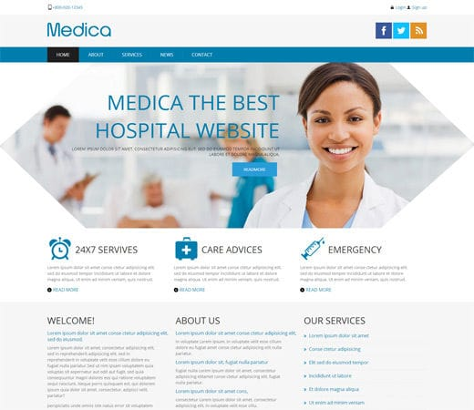 medica hospital mobile website template by w3layouts