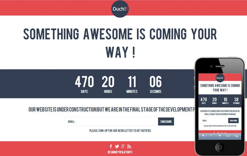 Ouch Under Construction Mobile Website Template Mobile website template Free