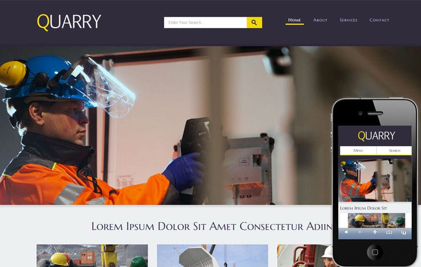 Quarry a Industrial Mobile Website Template Mobile website template Free