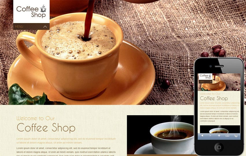 Coffee Shop Mobile Website Template Mobile website template Free