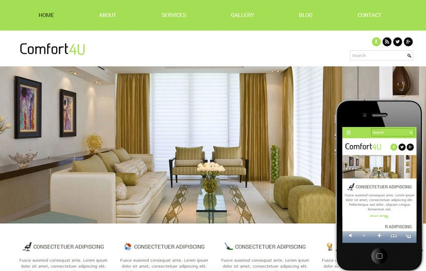 Comfort a interior architects Mobile Website Template Mobile website template Free