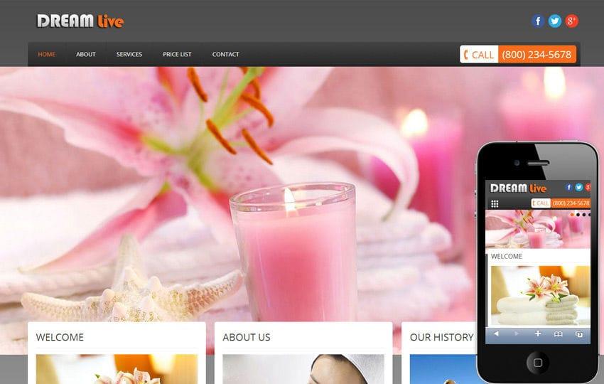 Dream Live Beauty Parlour Mobile Website Template Mobile website template Free