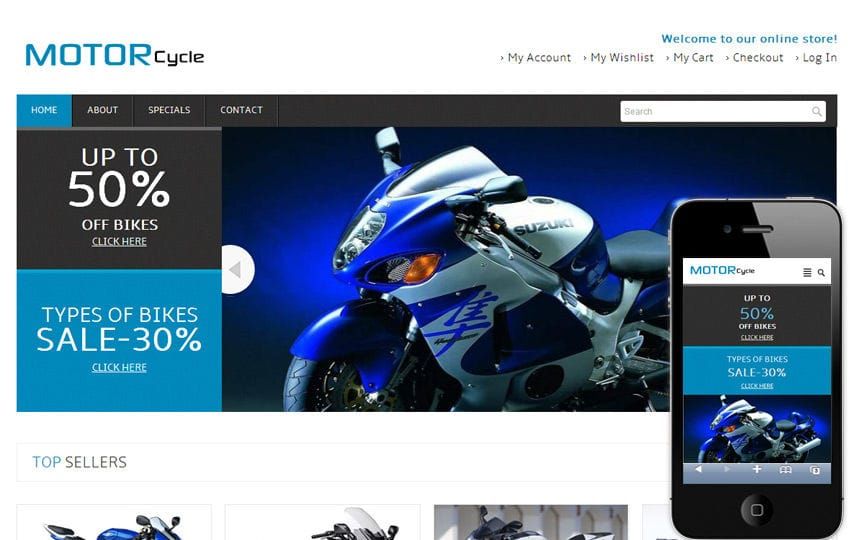Motor Cycle automobile Mobile Website Template Mobile website template Free