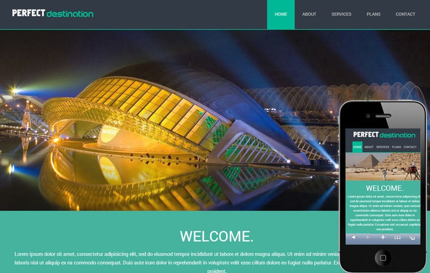 Perfect Destination a travel guide Mobile Website Template Mobile website template Free