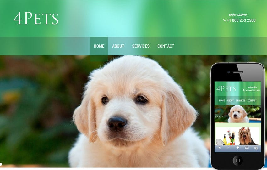 4Pets a animals and pets Mobile Website Template Mobile website template Free