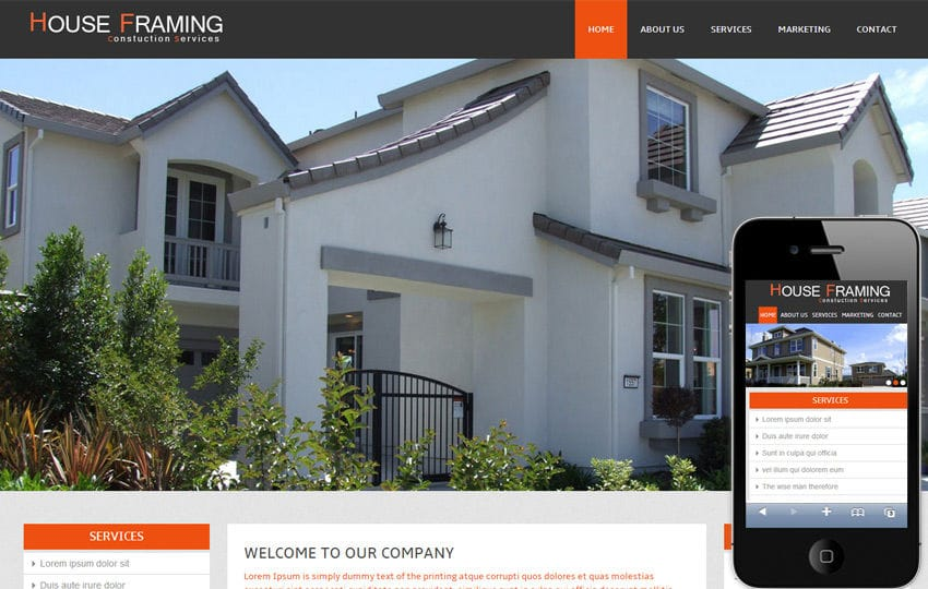 House Framing – A Real Estate Mobile Website Template Mobile website template Free