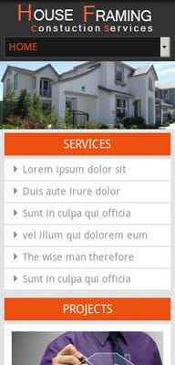Mobile website Template House Framing – A Real Estate Mobile Website Template