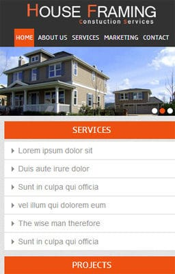 Free Iphone Smartphone web template House Framing – A Real Estate Mobile Website Template