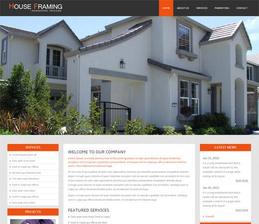 Free website template CSS HTML5 House Framing – A Real Estate Mobile Website Template