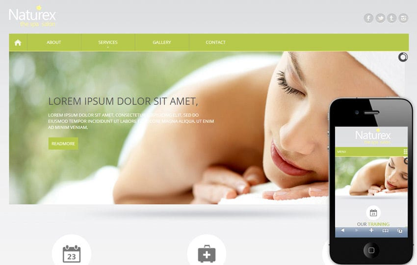 Naturex Beauty Parlour Mobile Website Template By W3layouts