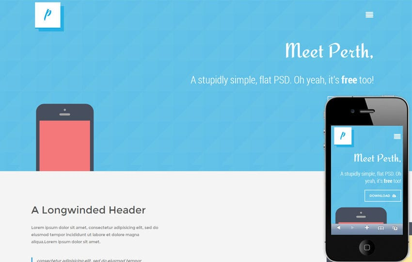 Perth flat Responsive design Mobile Website Template Mobile website template Free