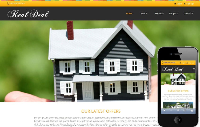 Real Deal – Real Estate Mobile Website Template Mobile website template Free